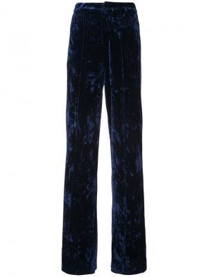 Бархатные брюки с высокой талией Ronny Kobo. Цвет: синий