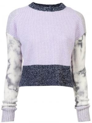 Укороченный вязаный свитер с контрастной отделкой Zoe Jordan. Цвет: синий