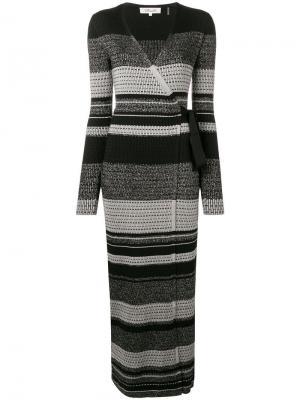Вязаное платье в полоску Dvf Diane Von Furstenberg. Цвет: черный