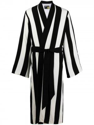 Полосатый халат с поясом DUOltd. Цвет: черный