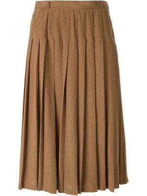 Плиссированная юбка-миди Louis Feraud Vintage. Цвет: коричневый