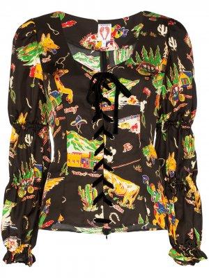 Блузка Jericho с принтом Shrimps. Цвет: коричневый