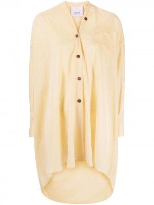 Рубашка оверсайз с закругленным подолом Erika Cavallini. Цвет: желтый