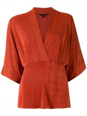 Блузка Sabrina с запахом Alcaçuz. Цвет: оранжевый