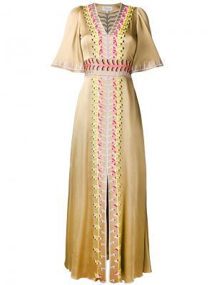 Embroidered v-neck short sleeve dress Temperley London. Цвет: нейтральные цвета