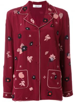 Пижамный топ с цветочной отделкой Valentino. Цвет: красный
