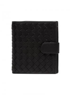 Плетеный бумажник Bottega Veneta. Цвет: черный