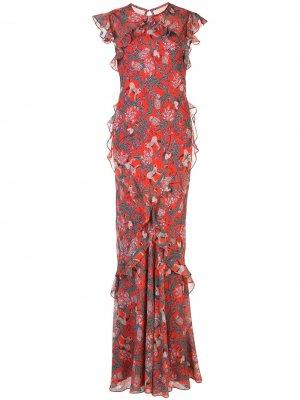 Длинное платье с цветочным принтом Saloni. Цвет: красный