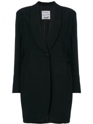 Пальто с лацканами шалькой Moschino Pre-Owned. Цвет: черный