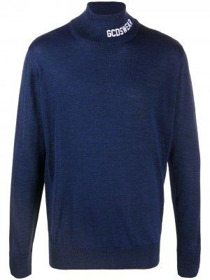 Джемпер с окантовкой в рубчик вышитым логотипом Gcds. Цвет: синий