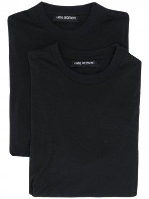 Комплект из двух футболок с принтом Bolt Neil Barrett. Цвет: черный
