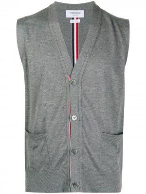 Knitted sleeveless cardigan Thom Browne. Цвет: 035 med grey