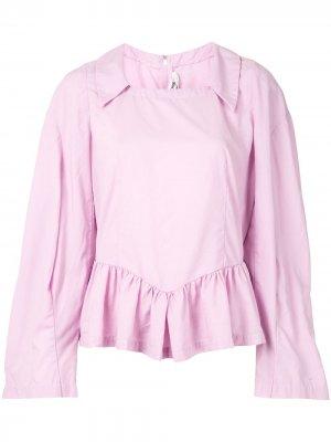 Рубашка с квадратным вырезом и оборками Comme Des Garçons. Цвет: фиолетовый