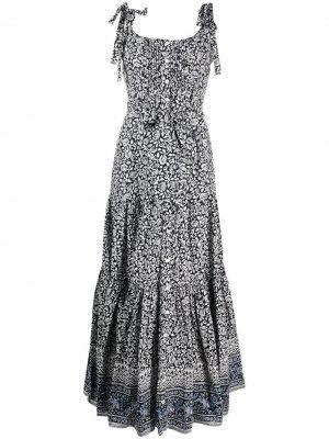 Платье макси Michi с цветочным принтом Veronica Beard. Цвет: черный