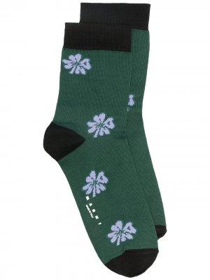 Носки с цветочным узором Marni. Цвет: зеленый