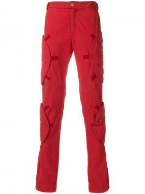 Облегающие брюки карго Walter Van Beirendonck Vintage. Цвет: красный