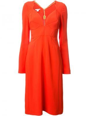 Приталенное платье с цепочной отделкой Antonio Berardi. Цвет: красный