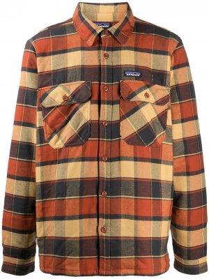 Фланелевая рубашка в клетку Patagonia. Цвет: оранжевый