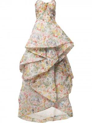Платье с оборками и цветочным принтом Monique Lhuillier. Цвет: нейтральные цвета