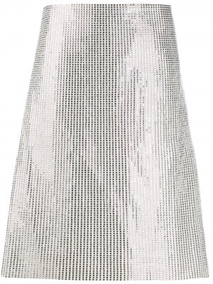 Декорированная юбка А-силуэта Bottega Veneta. Цвет: 9223 toile+crystal gold