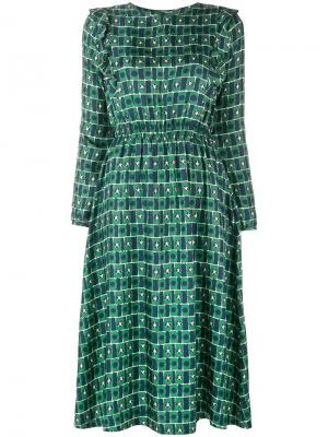 Расклешенное платье миди с геометрическим принтом Chinti & Parker. Цвет: зеленый