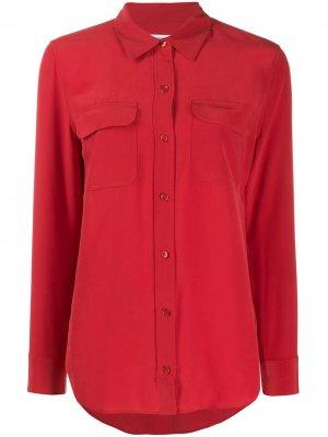 Рубашка с накладными карманами Equipment. Цвет: красный