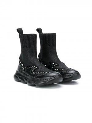 Кроссовки-носки с заклепками ELIE SAAB JUNIOR. Цвет: черный