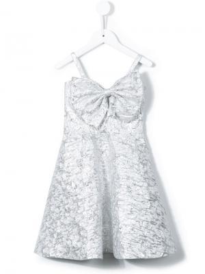 Платье с бантом Little Bambah. Цвет: золотистый