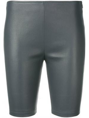 Кожаные шорты Manokhi. Цвет: серый