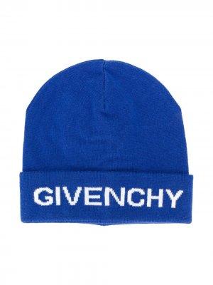 Шапка бини с логотипом Givenchy Kids. Цвет: синий