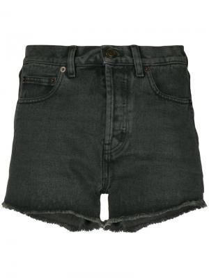 Классические джинсовые шорты Saint Laurent. Цвет: серый