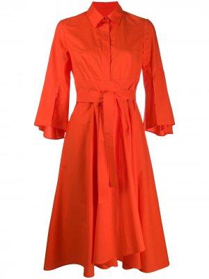 Расклешенное платье-рубашка Paule Ka. Цвет: оранжевый
