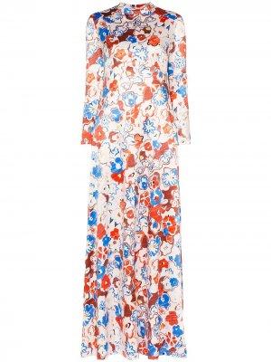 Платье макси с цветочным принтом Vika Gazinskaya. Цвет: разноцветный