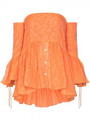 Блузка с открытыми плечами и оборками Rosie Assoulin. Цвет: оранжевый