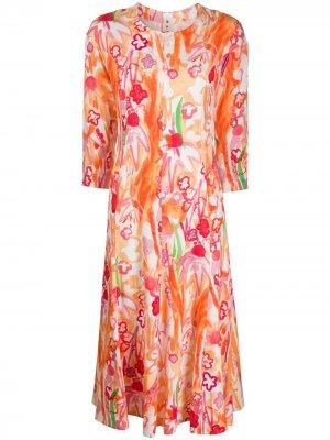 Платье миди с цветочным принтом Marni. Цвет: оранжевый