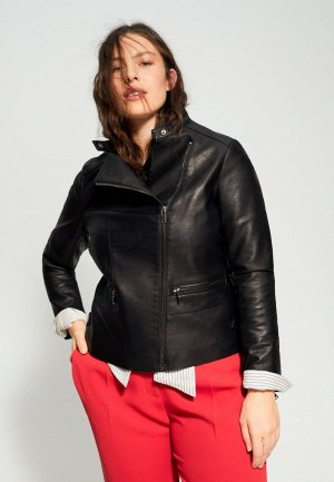 Куртка кожаная Violeta by Mango. Цвет: черный