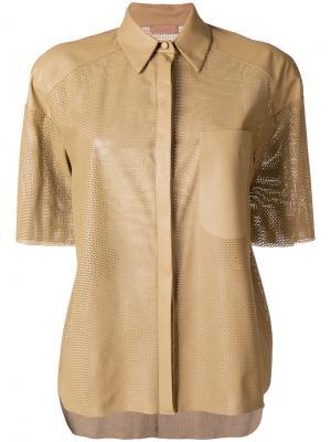 Рубашка с короткими рукавами Drome. Цвет: коричневый