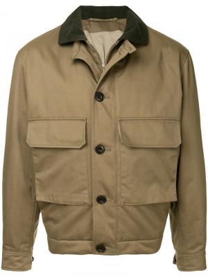 Куртка-бомбер с карманами клапанами Lemaire. Цвет: зеленый
