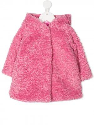 Пальто из ткани букле с вышитым логотипом Monnalisa. Цвет: розовый