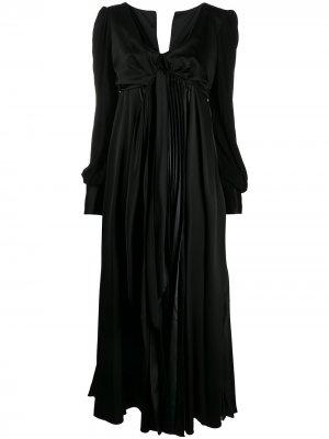 Атласное вечернее платье с завязками спереди JW Anderson. Цвет: черный