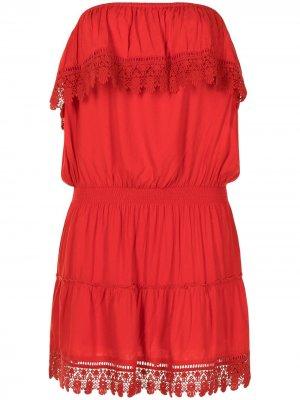 Кружевное платье Joy без бретелей Melissa Odabash. Цвет: красный