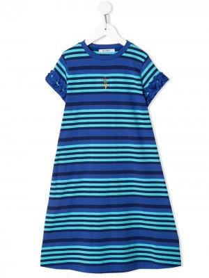 Платье из джерси в полоску Familiar. Цвет: синий