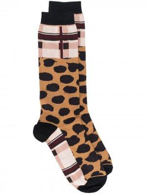 Носки с леопардовым узором Marni. Цвет: коричневый