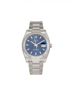 Наручные часы Oyster Perpetual Date 34мм pre-owned Rolex. Цвет: голубой
