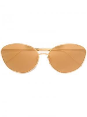 Солнцезащитные очки с круглой оправой Linda Farrow. Цвет: золотистый