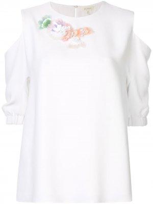 Блузка с цветочной аппликацией Delpozo. Цвет: белый