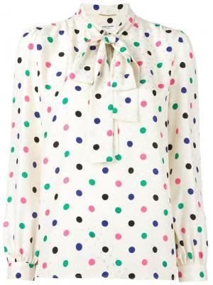 Блузка Lavaliere с узором в горох Saint Laurent. Цвет: нейтральные цвета