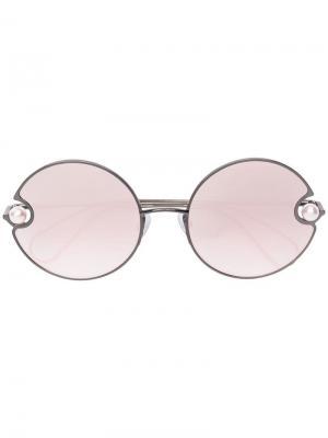 Pearl embellished round sunglasses Christopher Kane Eyewear. Цвет: металлик