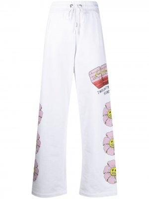 Прямые брюки с графичным принтом Gcds. Цвет: белый