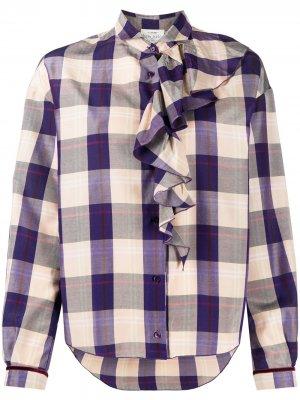 Клетчатая блузка с оборками Forte. Цвет: фиолетовый